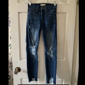 EUC High Rise Skinny Deconstructed Madewell Jeans
